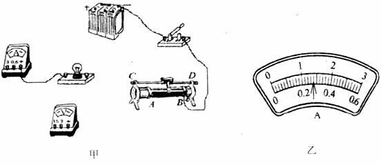 在测定小灯泡的额定功率的实验中,小明同学设计的电路如图甲所示,他选用的小灯泡的额定电压为3.8V,电阻约为10左右,电源为6V且不变。  (1)请用笔画线代替导线,将图甲中的实物电路连接完整(连线不得交叉,正确选用电表的量程); (2)正确连好电路后,闭合开关前应把滑动变阻器滑片的位置调到______________(填写A或B); (3)调节滑动变阻器使小灯泡的额定电压下正常发光时,电流表的示数位置如图乙所示,则灯泡的额定功率为__________W。