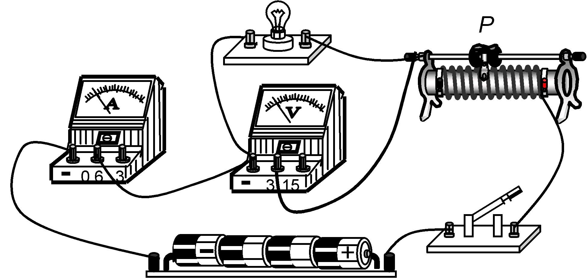 实物连接电路图,既可以测定小灯泡的电阻,又可以测定小灯泡的电功率.