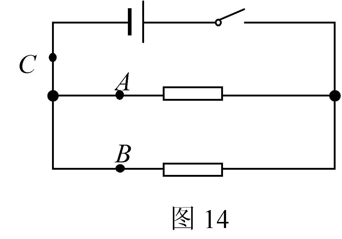 【探究名称】探究并联电路中电流的关系 【提出问题】如图16所示的并联电路中,流过A、B、C各处的电流之间可能有什么关系? 【设计实验与进行实验】 按图14所示连接电路; 把电流表分别接入到电路中的A、B、C处,测出它们的电流,        填入下表; 为了防止个别偶然因素的影响,我们可以采用以下两种方法之一,重复上面实验步骤.