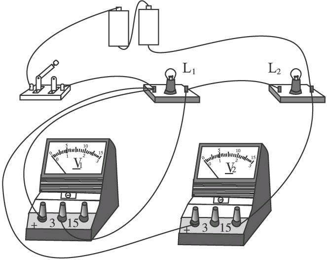 按图甲的电路图,将图乙的实物用笔画线代替导线连接
