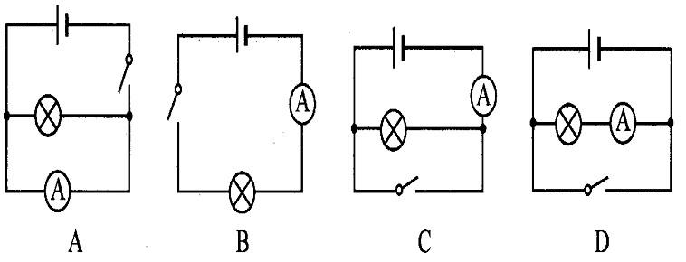 当开关闭合时,不可能造成电源或电流表损坏的电路图是