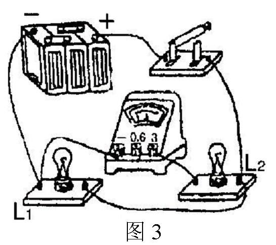 如图3所示的电路中,电流表测量的是:02a