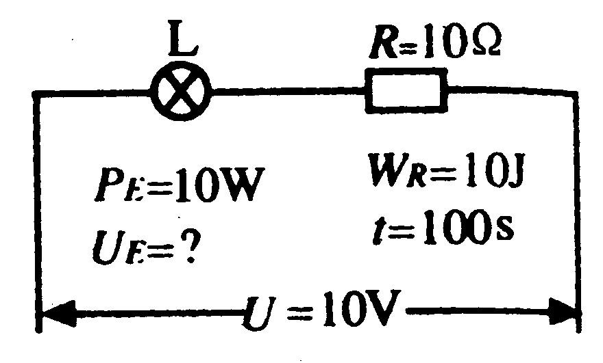 电阻r和灯泡l串联接到电压为10v的电路中,r=10Ω,电路