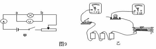 """如图9甲所示是""""测定小灯泡的功率""""实验的电路图"""
