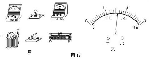 """用如图13所示的器材做""""测定小灯泡的额定功率""""的实验"""