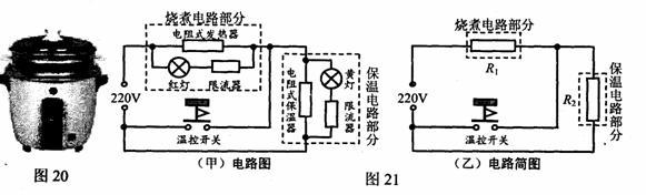 如图20 是电饭锅的实物图,图 21 (甲)是它的内部电路