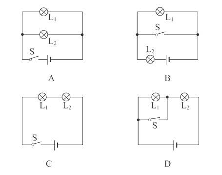 下列与实物图一致的电路图是( )