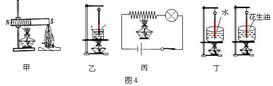 如图4所示,物理实验中经常需要对物体加热,下列描述中与实际吻合的是 A.甲图中,加热时磁铁吸引铁钉的数量将增多 B.乙图中,对沸腾的水继续加热,温度计的示数将不断增大 C.丙图中,对电阻丝加热,灯泡将变暗 D.丁图中,用完全相同的装置给初温、质量均相同的水和花生油加热,水的温度升高得快一些