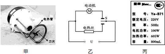 电路的实际电压,于是将家里的其它用电器都关闭,他观察到豆浆机的电热